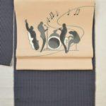 織の牛首紬を加賀染めの帯でコーディネート
