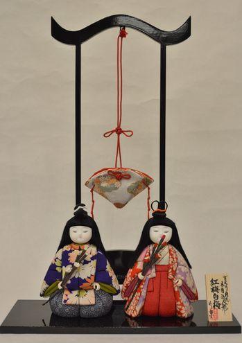 古布の木目込み雛人形「紅梅白梅」