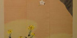 桜菜の花3連麻のれん