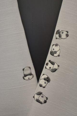 正絹刺繍半衿「パンダ柄」