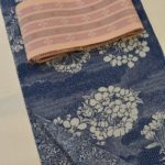 藍染の浴衣を首里花織の帯でコーディネート