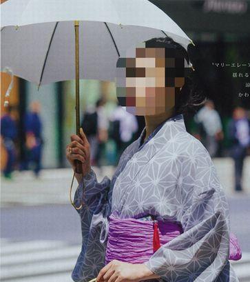 雑誌オッジ7月号に掲載された綿絽麻の葉腹の浴衣