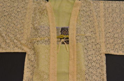 撫松庵のレースの長羽織を生かして単衣のオシャレ