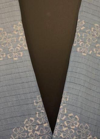 絽の小千谷藍染半衿