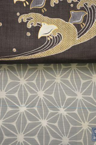 竺仙さんの麻の葉柄綿絽浴衣を麻名古屋帯でコーディネート