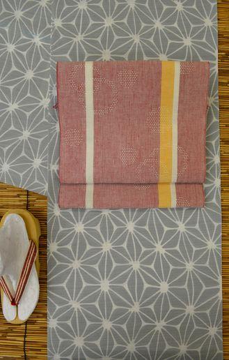 竺仙さんの綿絽浴衣を麻八寸帯でコーディネート