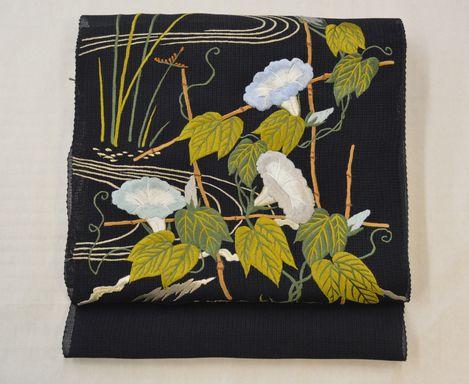 美しいキモノ夏号に掲載した朝顔の刺繍帯