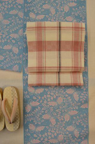 加賀染め綿絽浴衣を夏着物としてコーディネート