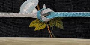 絽小紋を朝顔の刺繍帯でコーディネート