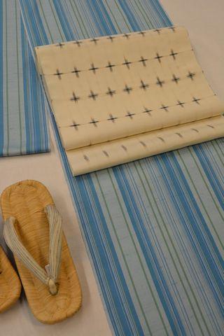 牛首紬を琉球絣の帯でコーディネート