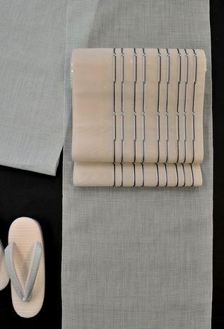 手織の小千谷縮をコーディネート