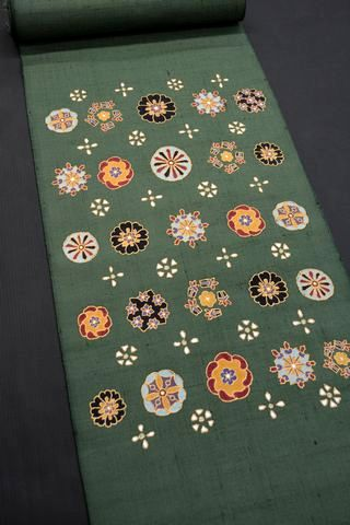 和更紗を小千谷紬に染めた帯地