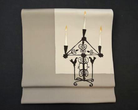 クリスマスをイメージした燭台とキャンドル柄の染帯