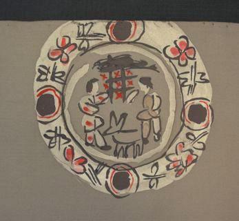食卓をイメージした柄の染帯
