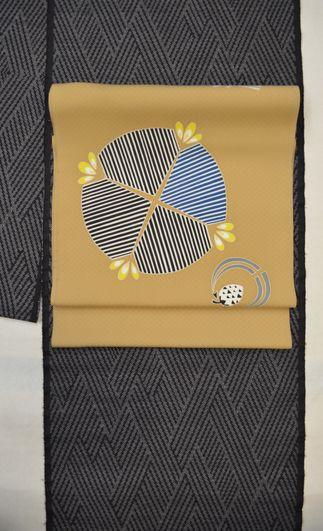 藍泥大島紬を湯本エリ子さんの染帯でコーディネート