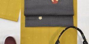 こけし柄の帯で着物コーディネート