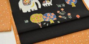大小霰(あられ)江戸小紋を象さんの帯でコーディネート