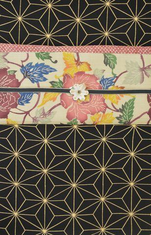 麻の葉模様の小紋をコーディネート
