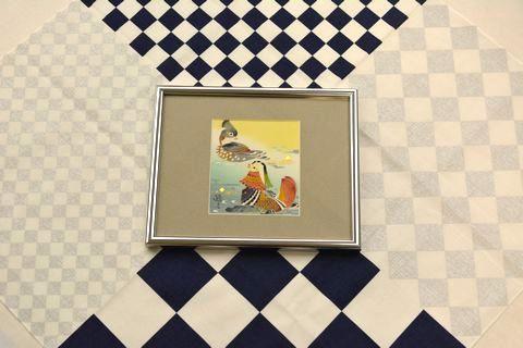 加賀友禅色紙額と風呂敷のコラボ