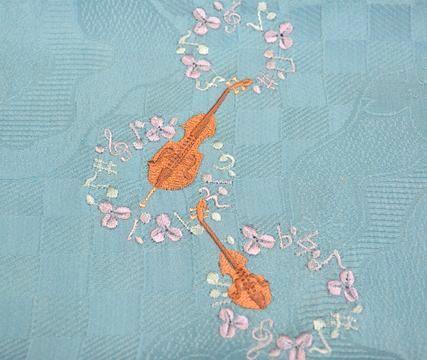 バイオリン柄の刺繍帯揚げ