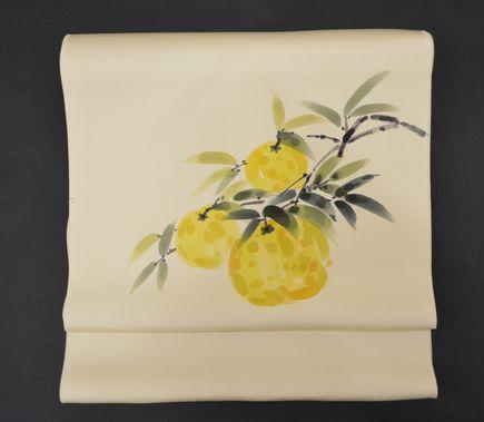 オーダーメイドの柚子柄の染帯