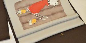 猫柄の着物と帯でコーディネート