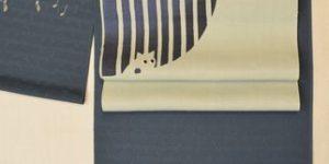 猫柄の着物を猫柄の帯でコーディネート