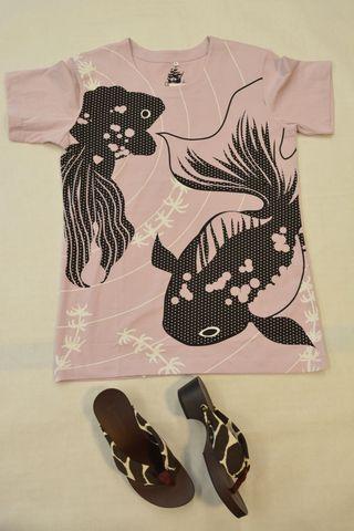 和柄Tシャツ「清涼金魚」パープル