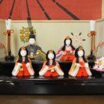 古布の木目込み雛人形「東宮五人飾り屏風付」