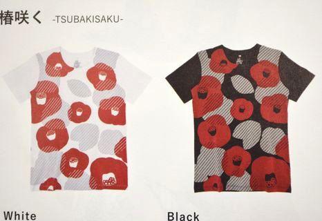 和柄Tシャツ「椿咲く」