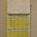 レモン色の綿麻着物をトンボ柄の帯でコーディネート