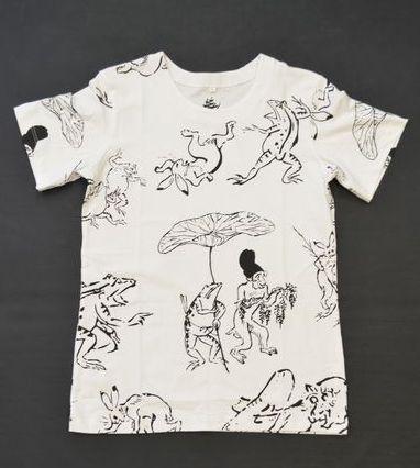 和柄Tシャツ/鳥獣戯画(ホワイト)
