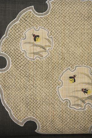 雪輪にホタル柄の麻名古屋帯