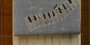 明石縮を鍵盤柄の夏帯でコーディネート
