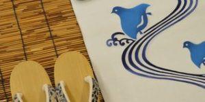 竺仙さんの白地に千鳥柄の浴衣をコーディネート