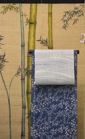 夏を彩る綿紅梅小紋と麻のれん