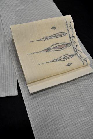 水色の綿麻の着物を麻八寸の名古屋帯でコーディネート