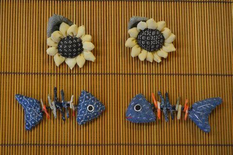 向日葵とお魚のブローチ