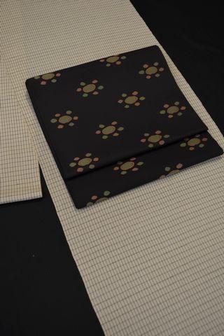 単衣の紬を洒落袋帯でコーディネート
