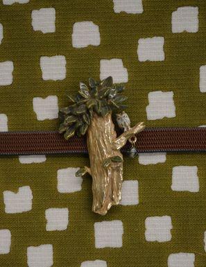 片貝木綿の半巾帯に合わせたフクロウさんの帯留