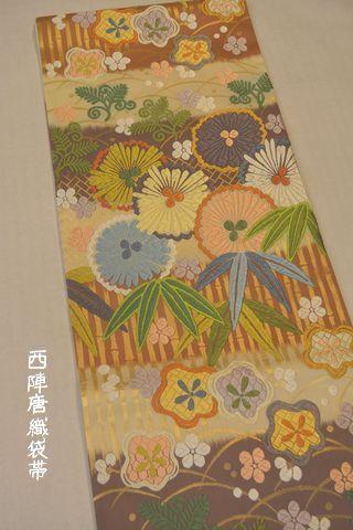 笹竹梅花文袋帯