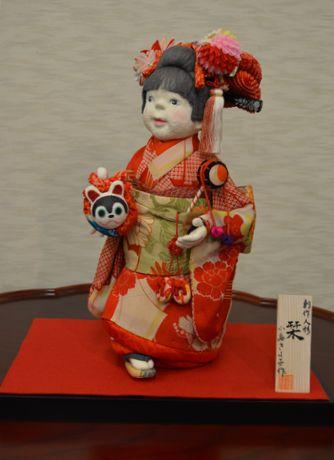 古布を使った創作人形「栞」