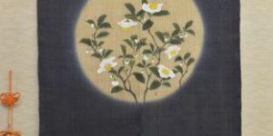 お茶の花の麻のれん