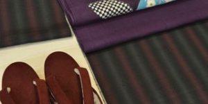 牛首紬を型絵染の帯でコーディネート