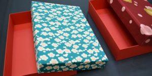 ちりめん風呂敷から作った小物入れの箱