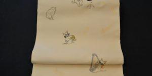 猫柄の西陣織九寸名古屋帯