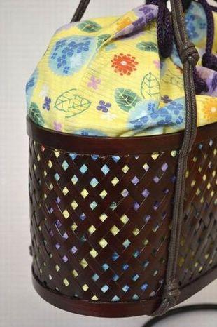 綿絽竹カゴ小判底/紫陽花・黄色