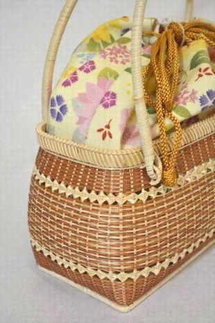 うるわしカゴバッグ横型茶/向日葵