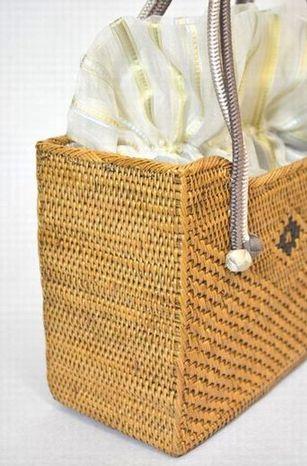 アタカゴバッグ・生地/フランス製・持ち手/絹100%
