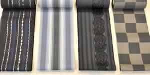黒っぽい色合いの博多織単衣ゆかた帯